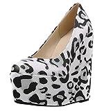 LEXUPE Mode Frauen Leopard Stitching Wedge Schuhe Round Toe Flacher Mund Einzelne Stiefel