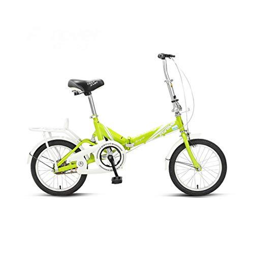 16 Zoll Faltrad Student Adult Universal Fahrrad City Bike Pendelstil Ultraleicht Mini Fahrrad (Color : Fluorescent green)