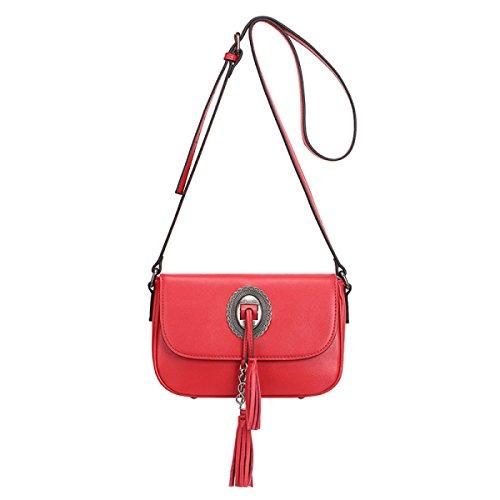 ZPFME Frauen Handtasche Mode Damen Tasche Ledertasche Einfach Mit Umhängetasche Mädchen Party Retro Damen Diagonal-Paket Red