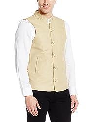 Svanik Mens Banded Collar Linen Waist Coat (SVJK1735_Small_Camel)