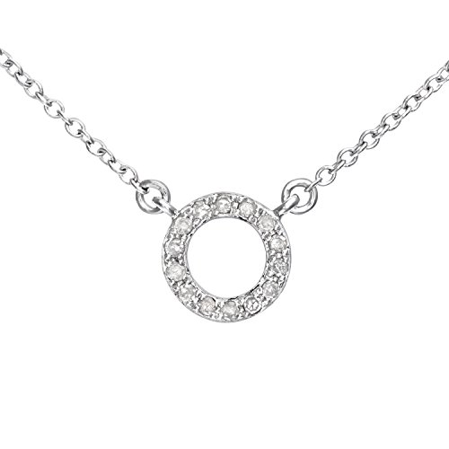 Naava Women's 9 ct White Gold Diamond Circular Necklet of 46 cm
