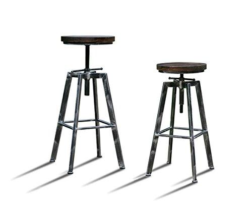 Artetdeco.eu Lot DE 4 Tabourets de Bar Réglable YAKO 2 Design Vintage Industriel Gris Brossé Minimaliste