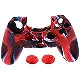 Transer® Silikon-Schutzhülle + 2 Rocker Cap für Playstation PS4 Controller Spielzeug Geschenk, rot, 2.2 * 2.2 * 0.7cm(Not Including fingertips gyro )