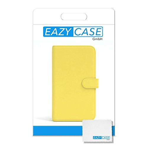 Apple iPhone 4S / 4 Tasche, EAZY CASE Book-Style Case Uni, Premium Handyhülle mit Kartenfach, Schutzhülle Geldbeutel mit Standfunktion, Wallet Case in Schwarz Gelb - Uni