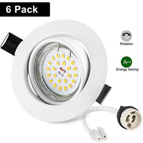 Foco Empotrable GU10 Blanco, Wowatt 6x Luz de Techo Interior GU10 LED...
