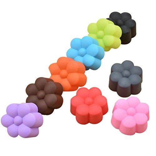 MSYOU Silikon-Formen in Blumenform, handgefertigt, für Muffins, Fondant, Kuchen, Gelee, Schokolade, Kekse, Eiswürfel, Seife, zufällige Farbe, 10 Stück