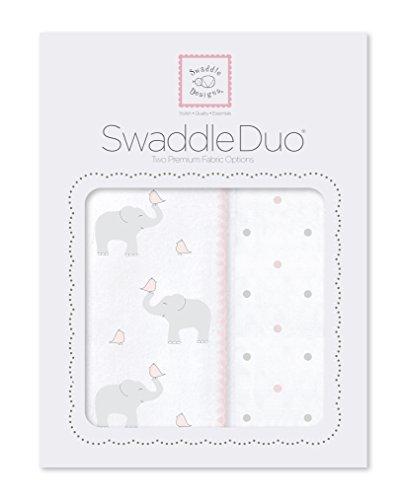 SwaddleDesigns SwaddleDuo, 2er Set, Baumwollmusselin und Baumwollflanell, Elefant und Küken, Pastellrosa, 2er Set