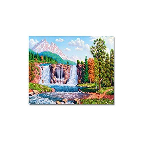 Moderne Malerei Ölbilder Auf Leinwand Landschaft Tier Wandbilder Kunst Handgemalt für Wohnzimmer Wohnkultur-80x80 cm Kein Rahmen