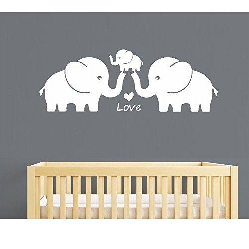 Tres lindos elefantes familia Wall Decal familia palabras bebe elefante vinilo pegatinas de pared para la decoracion de la habitacion del cuarto de niños del bebe (grande, blanco)