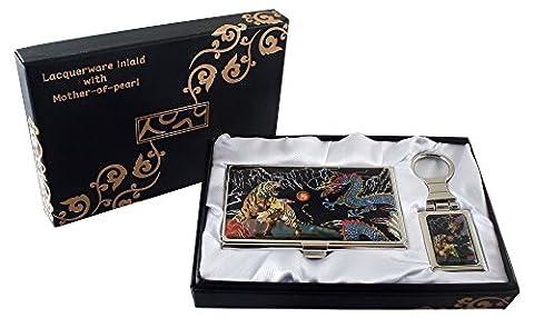 Mère de Pearl Tigre et Dragon Design porte-clés Support cartes crédit Nom Porte Carte d'identité Slim Argent cas de