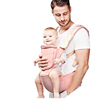 IUU Baby Carrier with Hip Seat, 6 Comfortable & Safe Positions for Infant & Toddlers, Cotton Baby Carrier, 360°Ergonomic Baby & Child (Pink)