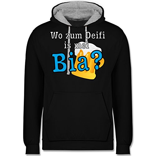 Après Ski - Wo zum Deifi is mei Bia? - Kontrast Hoodie Schwarz/Grau Meliert