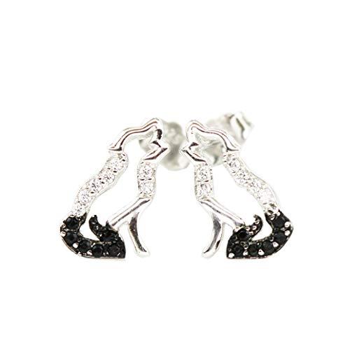 RC Personality Jewelry Damen Mädchen Ohrringe 925 Sterling Silber Zirkonia Schwarz Schwanz Wolf Ohrringe