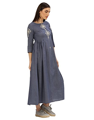Desi-Fusion-Womens-Blue-Embroidered-Handloom-Dress
