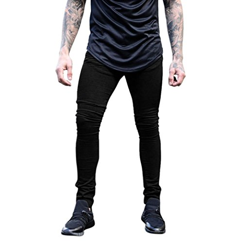 MCYs Men's Solid Color Tight Denim Pants Men's Stretchy Slim Fit Denim Pants Casual Long Straight Trousers Skinny Jeans