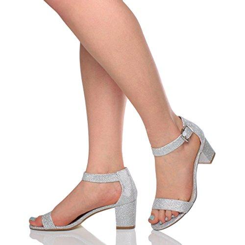Sandalia De Tacón Medio Sandalias De Tiras De Tobillo De La Hebilla Del Tobillo De Las Mujeres Punta Abierta Brillo De Plata