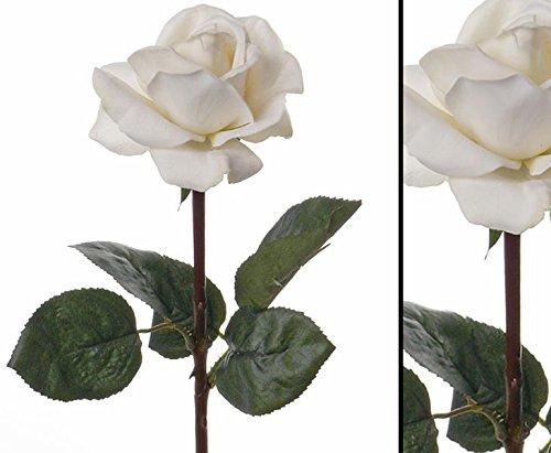 Gefühlsechte Rosen Kunsblume weiß, 35cm - Kunstpflanze künstliche Blumen Kunstblumen Blumensträuße künstlich, Seidenblumen oder Blumen aus Plastik Kunststoff </p> --> großes Kunstblumen Sortiment