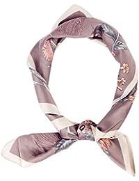 f2b790ee15b iShine Femme Foulard Carré 70 70cm Foulard avec Impression National Motifs  Floral Imprimé Turban Cache-col Féminin Echarpe…