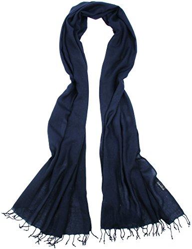FRAAS Damen Schal Stola in Marineblau, unifarben einfarbig, 200x60 cm - 100% Viskose