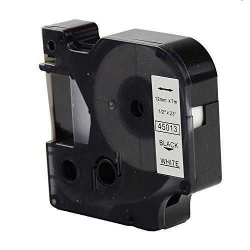 OYAT® kompatibel zu 12 mm x 7 m Dymo 45013 Etikettenband Schwarz auf Weiß für Dymo-Labelmanager (1x Schwarz auf Weiß)
