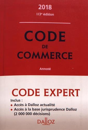 Code Dalloz Expert Code de Commerce 2018