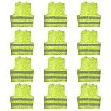 Giacca Catarifrangente (Confezione da 12) - Gilet Taglia Large Resistente con Strisce Grigie Riflettenti per Corsa, Ciclismo, Addetto Traffico, Sicurezza, Motocicletta, Uomini, Donne, Giacca Polizia