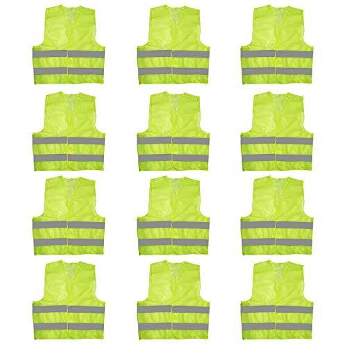 Warnweste (12er Set)- Schutzweste Signalweste - Große Starke Gelbe Sicherheitsweste mit Grauen Reflektierenden Streifen für Verkehrswärter, Laufen Motorrad und Radfahren, Männer, Frauen, Polizei-Weste