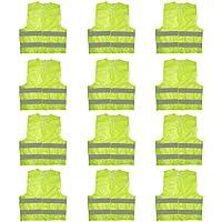 Chalecos Alta Visibilidad (Pack 12) Talla Grande Resistente Seguridad con Rayas Reflectantes para Correr, Agente de Tránsito, Seguridad, Motocicleta, Hombre, Mujeres, Chaleco de Seguridad Ligero