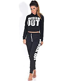 Sofias Closet Womens Work Out Tracksuit Bottoms Cropped Hoodie Set Hoody Top Sweater Sweats