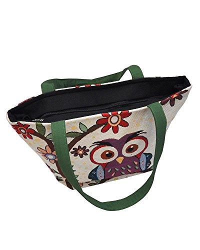 Damentasche Henkeltasche mit Reißverschluss ***EULE*** Shopper Schultertasche Eulenmotiv Umhängetasche - verschiedene Motive erhältlich - VINTAGE LOOK / absolut cool und stylish 42273
