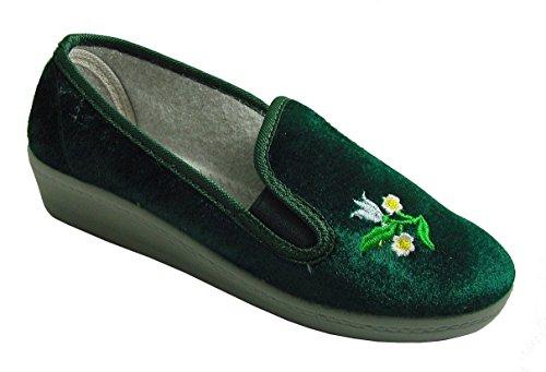 Pantofole Da Donna Ricamate Con Suola Ferma Accendino E Fiori, Gr.37-40, Verde Verde