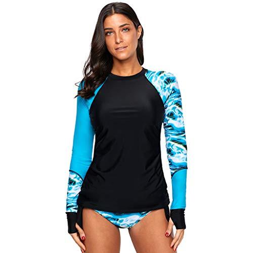Winkey  Surf Suit, Frauen Langarm UV Sonnenschutz UPF 50+ Rash Guard Top 17 Badeanzug Set