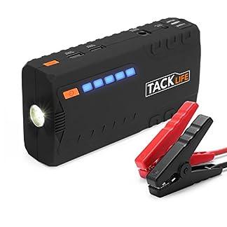 Arrancador de Coche, TACKLIFE-T6- 16500 mAh 600 A Real, Jump Starter 12 V, Arranque Batería para vehículo con Pinzas inteligentes, Bateria Externa, LED, Toma de mechero