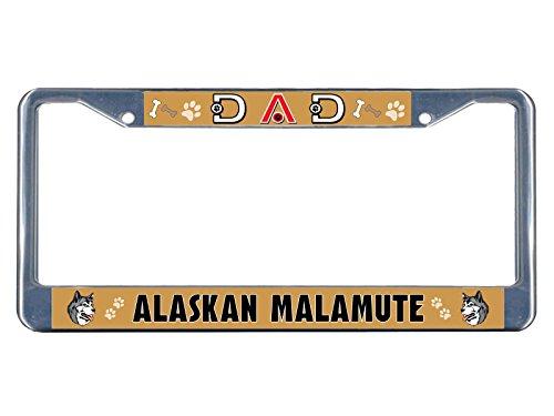 Alaskan Malamute Kennzeichenrahmen für Hunde/Papa, verchromtes Metall, perfekt für Männer und Frauen, Auto-Garadge-Dekor Fiesta Blue Plate