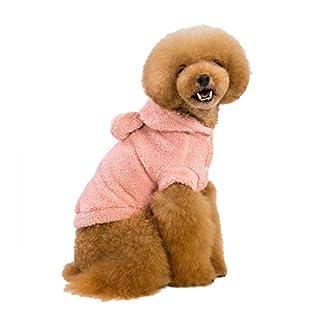 Ancdream Heimtierbedarf Herbst und Winter Baumwollsamt Hundeweste Jacke Mantel Kostüm Deko Hasenohr - Farbe Rosa Größe XL
