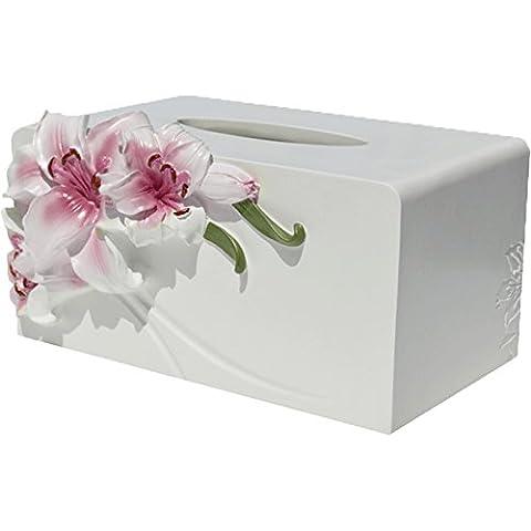 Lx.AZ.Kx Ornamente Multifunction Paper Box Wohnzimmer Fernbedienung Zugeben Patronen Ziehen Sie Fach Continental Serviette Saugkasten, Toner Lily Ziehen Sie Die Tabelle