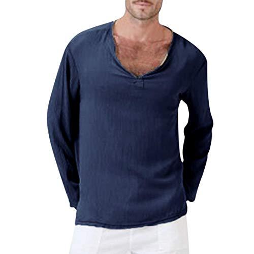 Subfamily top uomo,uomo sottile personalità casuale moda tinta unita cotone lino a maniche lunghe v-collo top camicetta(marina,l)