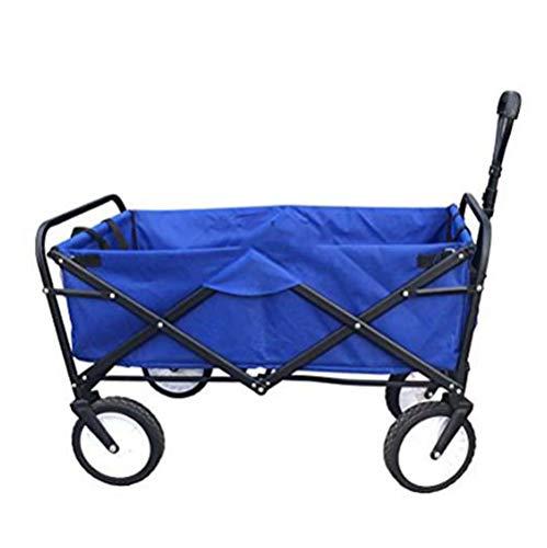 Liapianyun Bollerwagen Faltbar Transportwagen,Handwagen Transportkarre Gartenwagen Faltwagen Strandwagen Bis 80KG Vorderräder 360° Drehbar Blau,42