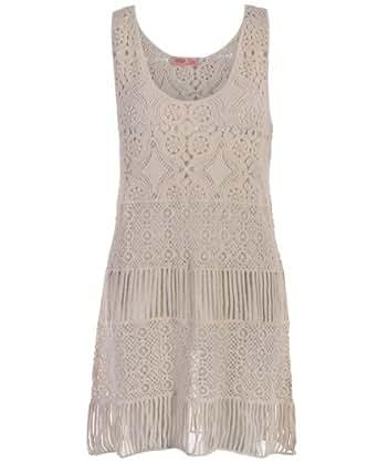 3410-STN-ML: Retro Vintage Sheer Lace Crochet Shift Tunic Mini Sun Dress Party Summer 3410