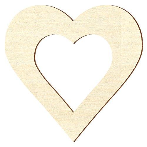 Bütic GmbH Sperrholz Zuschnitte - Herz mit individuellem Innenausschnitt - Pappel 3mm, Außenmaß:32 x 32cm Außenmaß, Innenmaß:11 x 11cm Innenmaß (Herz Modelleisenbahnen)
