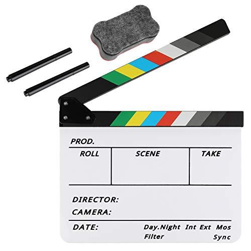 Zacro Acryl-Kunststoff-Klappbrett für Regisseuren, einfach abwischbar, mit 2 Stiften und einem Tafelradierer für Filme, TV-Shows, Studio Live, DIY Videos.
