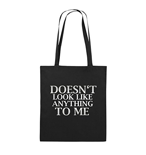 Comedy Bags - DOESN'T LOOK LIKE ANYTHING TO ME - Jutebeutel - lange Henkel - 38x42cm - Farbe: Schwarz / Pink Schwarz / Silber