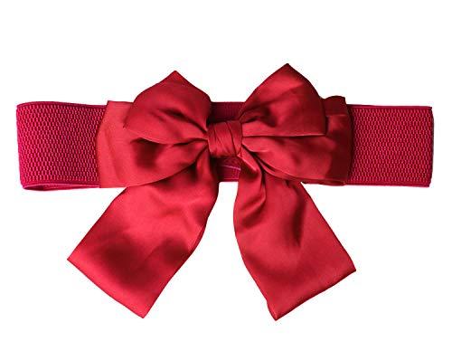 Nanxson Damen Frauen Vintage Elegant Breit Satin elastischer Taillengürtel Gürtel mit groß Schleife Schnalle PDW0086 (rot