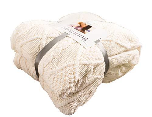 BeSpring Kabel Knit Sherpa Übergroße Werfen, Wendedecke Schaffell gefüttert Cozy Baumwolle Blend Pullover Twin(60
