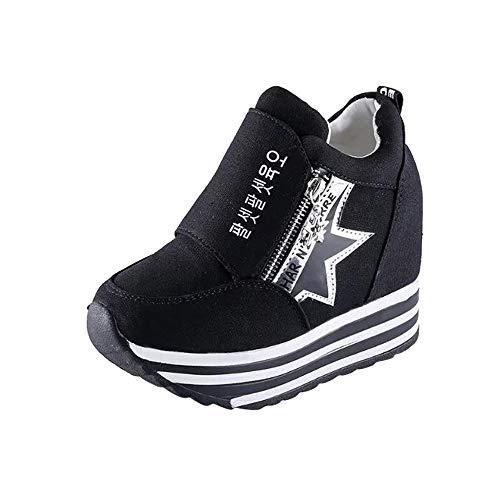 ELECTRI Femmes Augmentation des Chaussures,Mode Nouveau Femmes Chaussures Compensées Augmenter Daim Sneakers Baskets Fond épais
