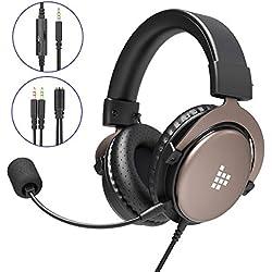 Tronsmart Sono Casque Gaming PS4, Casque Gamer avec Micro Premium Anti Bruit Audio Stéréo Basse, 3.5mm Connecteur Jeux Vidéo Casque de Jeu Gaming Compatible pour PC Xbox One Mac Laptop Tablette