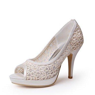 Wuyulunbi@ Scarpe donna seta Pizzo Primavera Estate della pompa base scarpe matrimonio Stiletto Heel Peep toe Applique per la festa di nozze & Sera Champagne Champagne