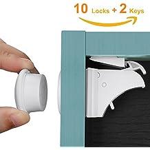 Linkax Baby Sicherheit Kindersicherung Schranksicherung Sicherheitsschloss Unsichtbarer Kindersicherheit Magnetisches Schrankschloss Magnetschloss Schubladensicherung(10 Schlösser+ 2 Schlüssel)