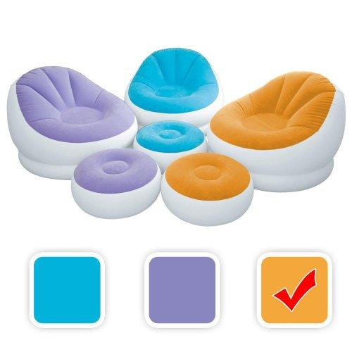 Intex aufblasbarer Lounge Sessel mit Fußbank in 3 Farben, Farbe:Orange