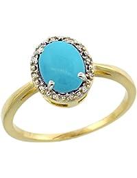 Revoni - Bague Femme - Or jaune 585/1000 (14 carats) - Diamants et Turquoise ovale 1,2 ct